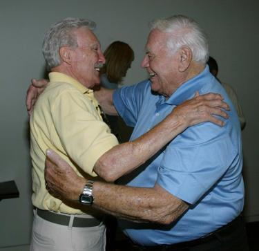 Ernest Borgnine and Warren Stevens at the California screening of &quot;Trail to Hope Rose&quot;.